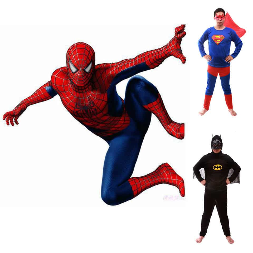 2015 new hot sale adult spiderman superman batman costumes spider