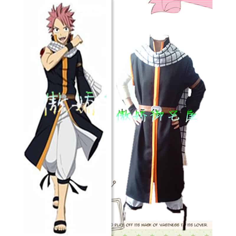 high quality fairy tail anime natsu dragneel cosplay men halloween costume clothing full suits adult cosplay outfits with scarf