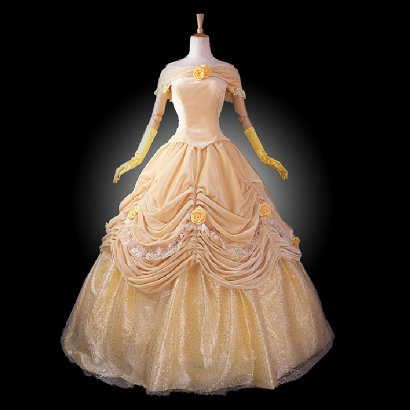 adult princess belle costume women Beauty and the Beast costume cosplay halloween costumes for women velour Prom dress custom & adult princess belle costume women Beauty and the Beast costume ...